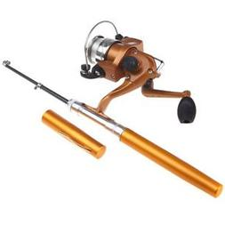 Mini Telescopic Portable Pocket Pen Fishing Rod Reel+Nylon L