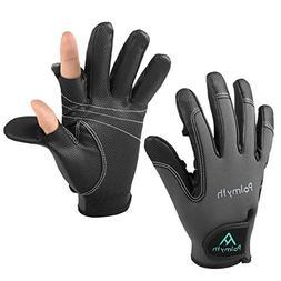 Palmyth Neoprene Fishing Gloves for Men and Women 2 Cut Fing