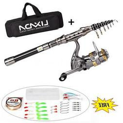 NEW Fishing Rod and Reel Combo Kit Spinning Reel Gear Organi