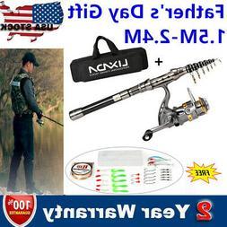 NEW Lixada Fishing Rod Reel Set Telescopic Combo Reel + Pole