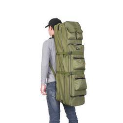 Outdoor 3 Layer Fishing Bag Backpack 100cm Rod Reel Pole Tac