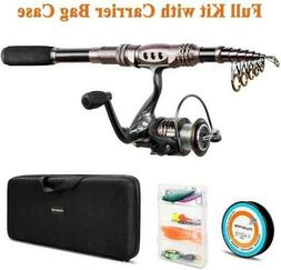 PLUSINNO Telescopic Rod & Reel Combos Fishing Full Kit, Spin
