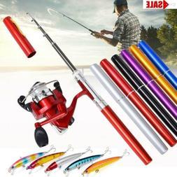 Pocket Fishing Pen Size Rod Reel Line Hook Combos Travel Por