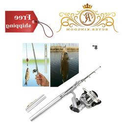 Pocket Size Fishing Pole Pen Shaped Collapsible Rod and Spin