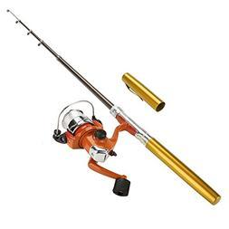 VGEBY Pocket Pen Rod Set, Mini Telescopic Fishing Rod Reel C