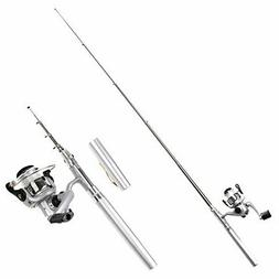 HDE Pocket Size Pen Shaped Collapsible Fishing Rod Pole and