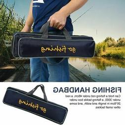 Portable Fishing Rod Pole Reel Lures Box Tackle Storage Bag