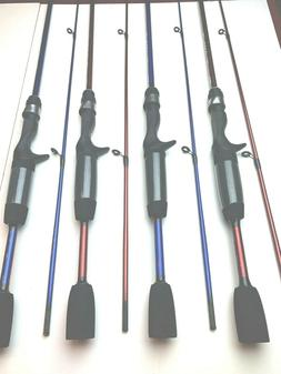 Zebco Rod Special. 4 Rods 5' UL Casting 2 pc 2-RED / 2-BLU