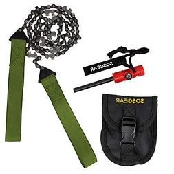 SOS Gear Pocket Chainsaw and Fire Starter - Survival Hand Sa