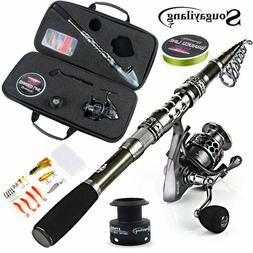 Sougayilang Telescopic Fishing Rod With Spinning Reels Combo
