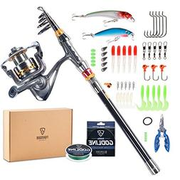 FISHINGSIR Spinning Fishing Rod and Reel Combo - Carbon Fibe