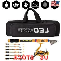 Telescopic Carbon Fiber Spinning Fishing Rod and Reel Combo