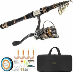 PLUSINNO Telescopic Fishing Rod and Reel Combo Full Kit, 2.4