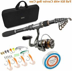 PLUSINNO Telescopic Fishing Rod and Reel Combos Full Kit, Sp