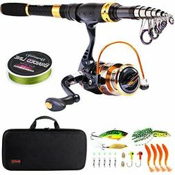 Sougayilang Telescopic Fishing Rod Reel Combos Portable Fish