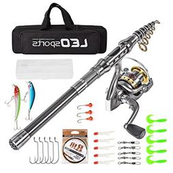 Leo Telescopic Fishing Rod Reel Combos Full Kids Carrier Bag
