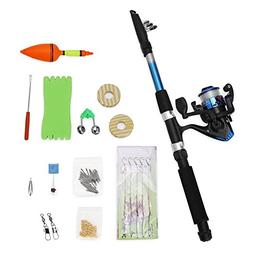 Telescopic Fishing Rod and Reel Combos kit for Beginners,Rod
