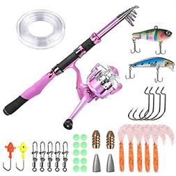 PLUSINNO Ladies Telescopic Fishing Rod and Reel Combos,Spinn