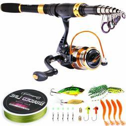Sougayilang Telescopic Fishing Rod Reel Combos Full Kit for
