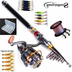 Sougayilang Telescopic Fishing Rod Spinning Fishing Reel PE