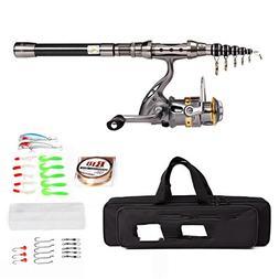 Fishings Telescopic Rod Reel Combo Full Kit Rod Gear +Spinni