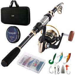 Telescopic Spinning Fishing Pole Rod and Reel Combo Set Full
