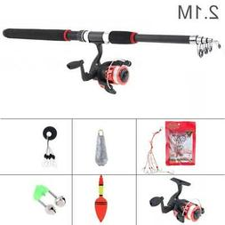 Telescopic Spinning Fishing Rod Reel Combos Full Kit Fishing