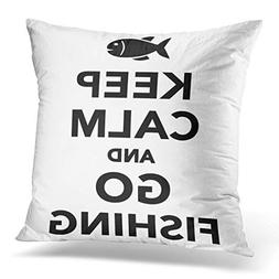 Throw Pillow Cover Fish Keep Calm Go Fishing Angler Bait Cat