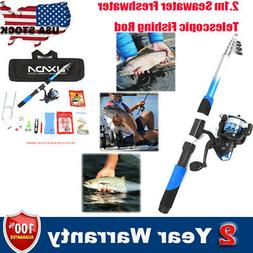 USA 2.1M TELESCOPIC FISHING ROD SPINNING REEL SEA/FRESHWATER
