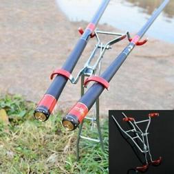 USFoldable Adjustable Double Pole Bracket Practical Fishing