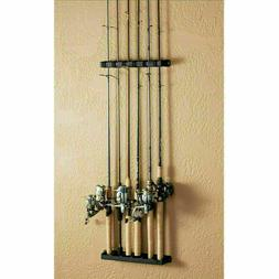 Vertical Fishing Rod Rack 6 Rods Holder Wall Mount Storage P