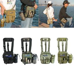 Waterproof Canvas Fishing Tackle Bag Pack Waist Shoulder Lur