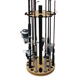 Rush Creek Wood 24-round Spinning Fishing Rod Rack Fast Free