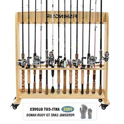 FISHINGSIR Wood Fishing Rod Holders for Garage with Wheels -